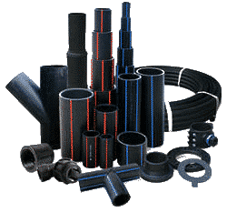 black plastic HDPE pipe and fittings